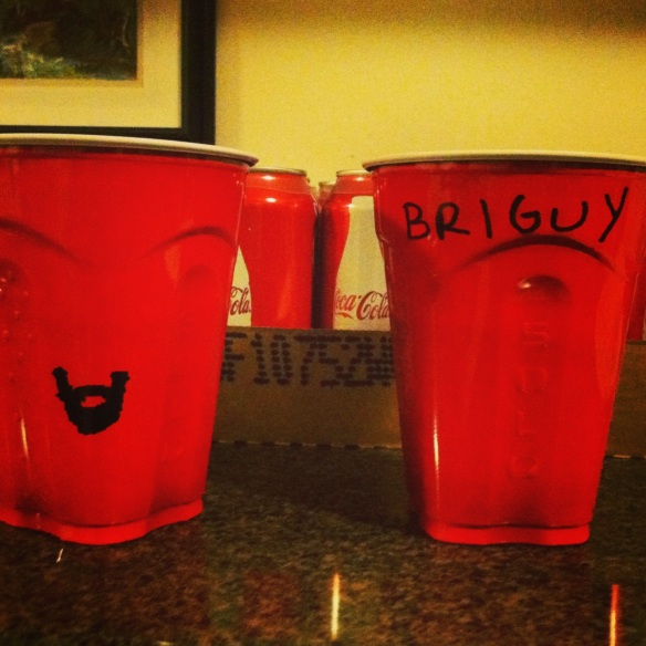 House humor, Brian and I marking our cups.  I love a good beard joke.